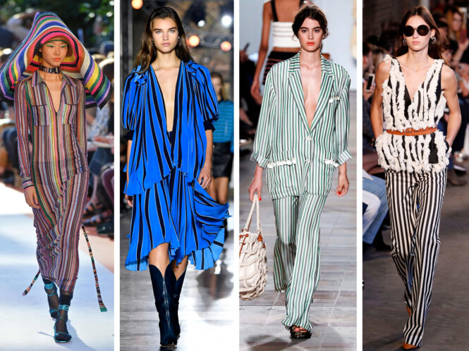 FRA CATWALKEN: Missoni, Givenchy, Sonia Rykiel og Altuzzara viste alle striper da de presenterte sine kolleksjoner for våren 2018. Foto: Scanpix