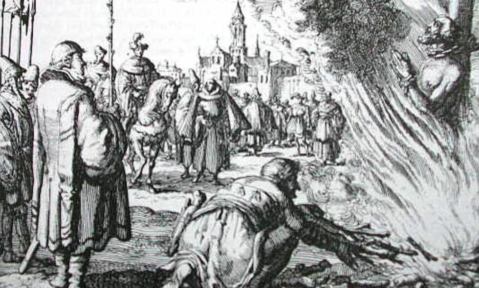 BRENT: Tysk illustrasjon av henretting ved brenning på bål. FOTO: Wikimedia / Wikipedia / NTB Scanpix
