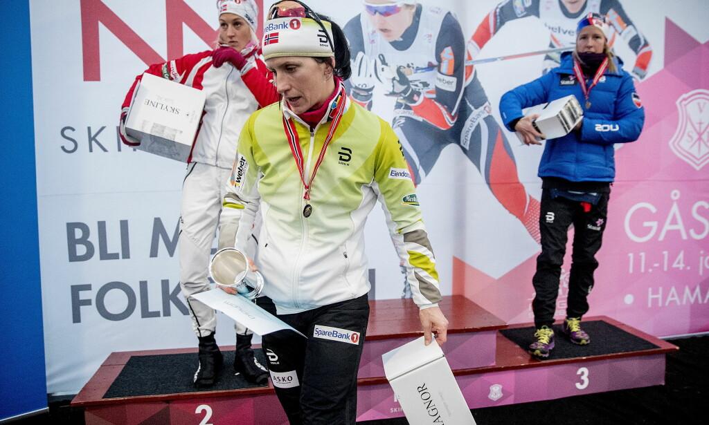ÅPENT: Marit Bjørgen slo Katrine Harsem og Silje Øyre Slind i NM-sprinten, men går hun sprinten i OL? Harsem håper Bjørgen dropper sprinten. Foto: Bjørn Langsem / Dagbladet