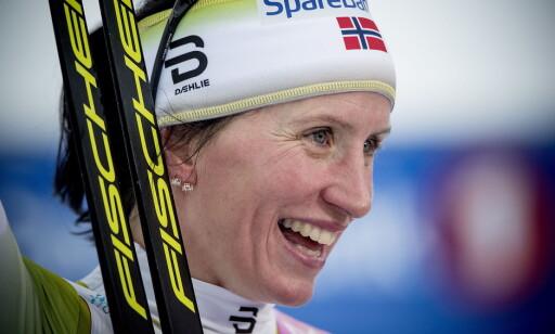SEIERSSMIL: Det er en stund siden sist, men Marit Bjørgen kunne i dag juble for en etterlengtet sprintseier igjen. Foto: Bjørn Langsem / Dagbladet