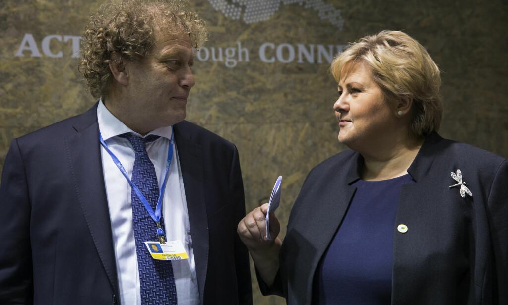 ROS: Frederic Hauge synes statsminister Erna Solberg var klok under møtet med USAs president Donald Trump. Her er de to avbildet under FNs klimakonferanse i Paris 2015.     Foto: Berit Roald / NTB Scanpix