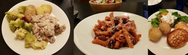 3 X ROEDE: Lettkremet kjøttgryte med sopp og romanesco, pasta arrabbiata med strimlet spekeskinke og fiskekaker med råkostsalat og epledressing.