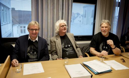 FRIFINNES: Løgnaslagets medlemmer, Per Inge Torkelsen, Dag Schreiner, Rune Andersen, Bjørn Aslaksen og Pål Mangor Kvammen, ble frikjent av Stavanger tingrett. FOTO: NTB Scanpix