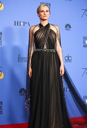<strong>STRÅLTE I SORT:</strong> Under Golden Globe var Diane en av mange som strålte i sort på den røde løperen. Foto: NTB Scanpix