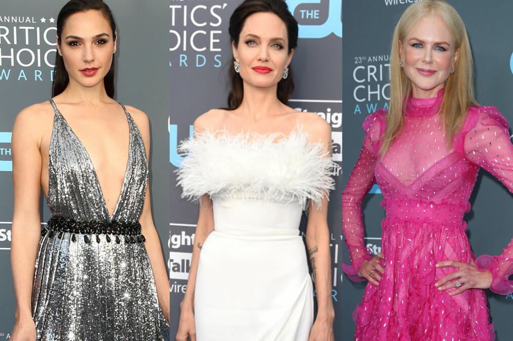 <strong>DROPPET SORTE ANTREKK:</strong> Gal Gadot, Angelina Jolie og Nicole Kidman var noen av stjernene under Critics' Choice Awards som gikk i farger. Foto: NTB Scanpix