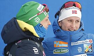 JEVNE: Astrid Uhrenholdt Jacobsen og Marit Bjørgen. Foto: Bjørn Langsem / Dagbladet