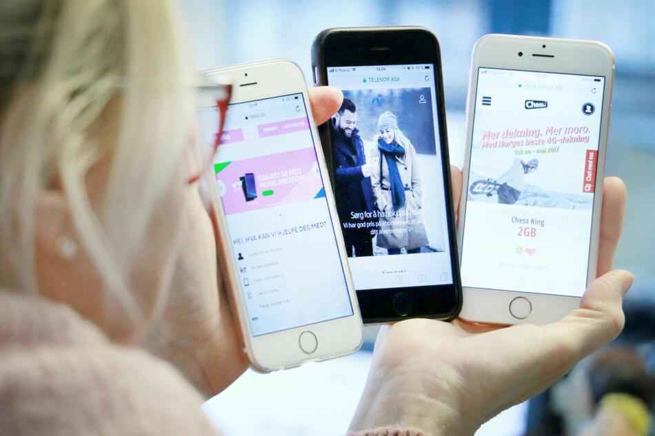 MYE Å VELGE I: Å velge et mobilabonnement er vanskelig. Det finnes mange operatører, mange abonnementer og mange salgsargumenter. Men prisforskjellene er store, så det er verdt å bruke litt tid på å velge det som er riktig for deg. Foto: Ole Petter Baugerød Stokke