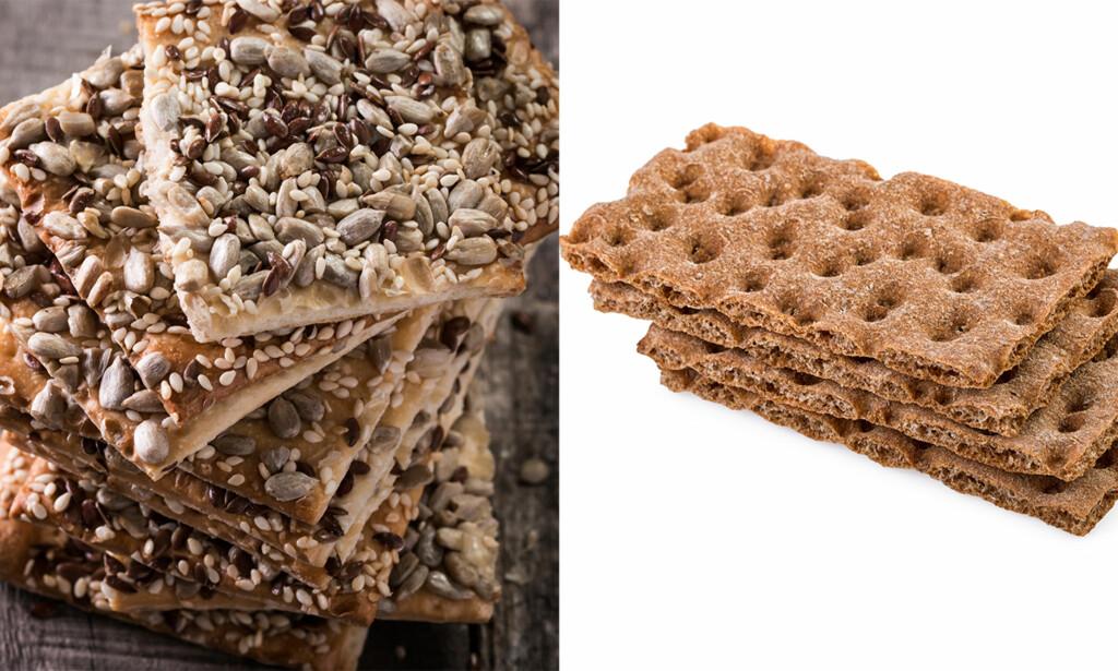 STORE FORSKJELLER: Knekkebrødene til venstre inneholder mye mer fett enn de tradisjonelle, vanlige knekkebrødene. (Foto: Shutterstock / NTB scanpix)