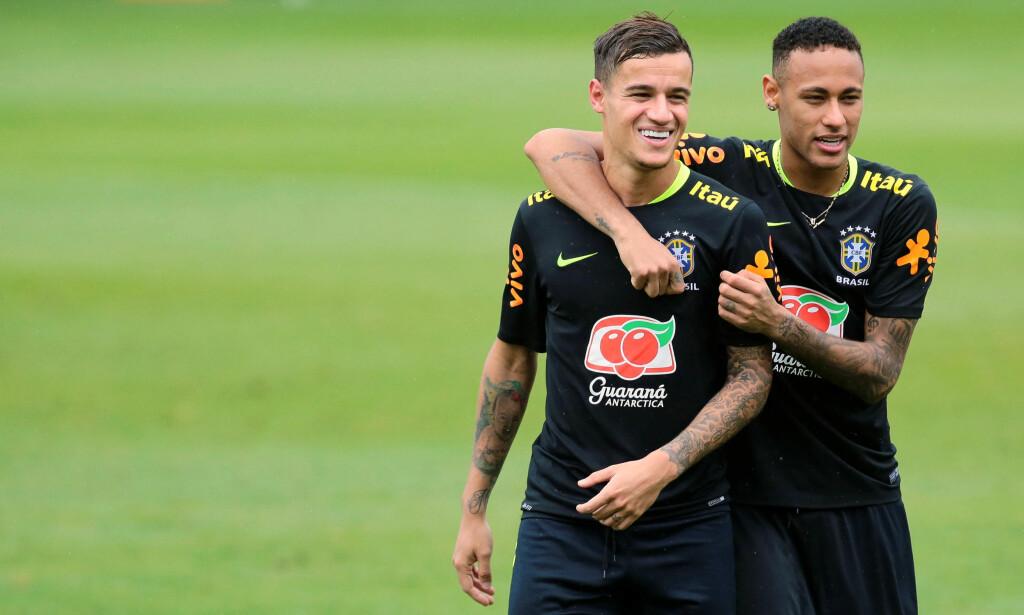 GODE VENNER: Philippe Coutinho og Neymar. Foto: REUTERS/Cristiane Mattos/NTB Scanpix