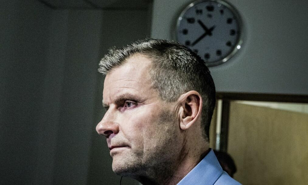 <strong>LENSMANN:</strong> Tidligere Ringsaker-lensmann Terje Krogstad på en pressekonferanse i perioden Janne Jemtland var savnet. Foto: Christian Roth Christensen / Dagbladet