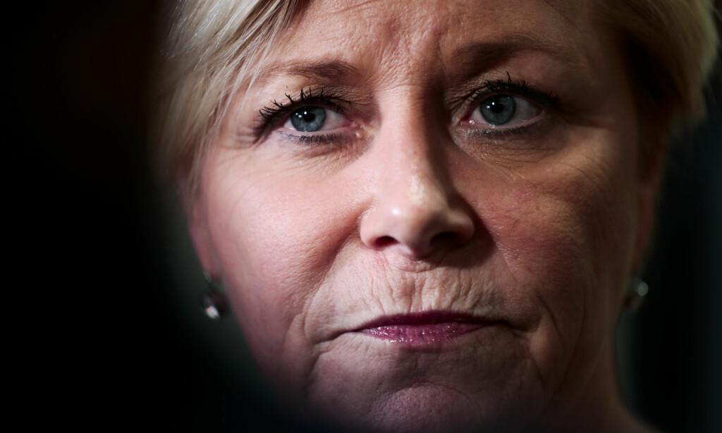 KUTT: Frp-leder Siv Jensen kan komme til å slite med å stable på beina et flertall for eiendomskatteløftet i regjeringsplattformen. Foto: Lise Åserud / NTB scanpix