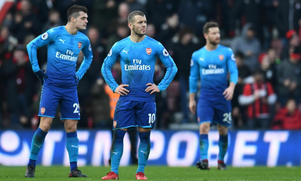 TAPTE: Jack Wilshere og resten av Arsenal-spillerne så fortvilet ut etter tapet mot Bournemouth. Foto: REUTERS/Dylan Martinez