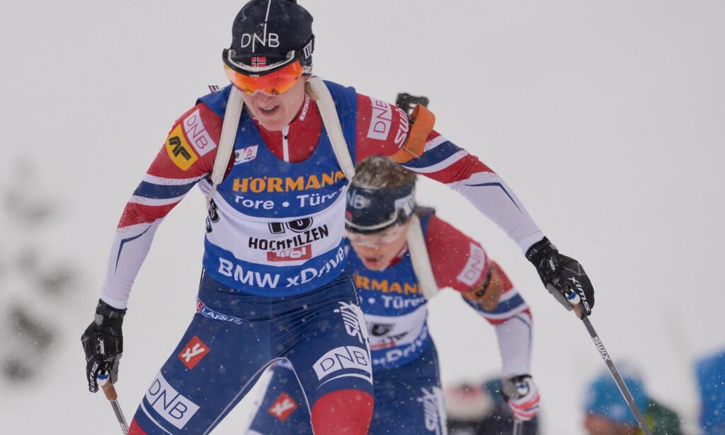FORNØYD: Marte Olsbu var fornøyd med skiene til tross for at det kun ble en femtendeplass på fellesstarten i Ruhpolding. Foto: GEPA / Hans Osterauer/Bildbyrån