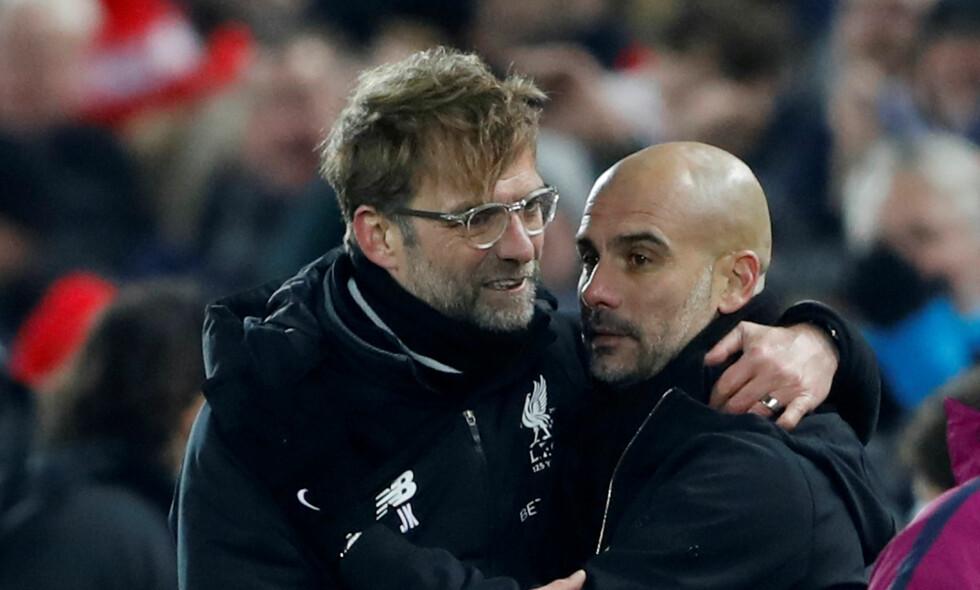 MØTES TIL DUELL: Liverpool-manager Jürgen Klopp og Manchester City-manager Pep Guardiola. Foto: Foto: Reuters/Carl Recine/NTB Scanpix