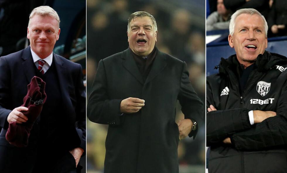 BRITISKE MANAGERE: David Moyes, Sam Allardyce og Alan Pardew har alle ledet flere Premier League-klubber. Foto: NTB Scanpix