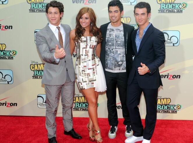 <strong>CAMP ROCK-GJENGEN:</strong> Fra venstre Nick Jonas, Demi Lovato, Joe Jonas og Kevin Jonas. Foto: NTB Scanpix