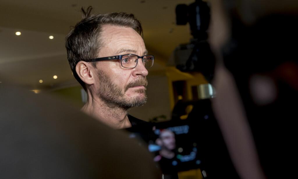 TAUS: Landslagsjef Christian Berge ville ikke snakke om anklagene fra Nora Mørk på landslagets pressetreff tirsdag.  Foto: Vidar Ruud / NTB scanpix