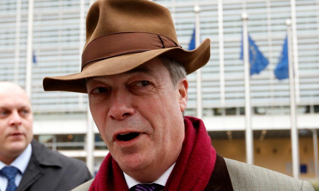 VIL HA NY FOLKEAVSTEMNING: Tidligere Brexit-general Nigel Farage vil ha en ny folkeavstemning om britisk EU-medlemsskap for å lukke døren til unionen for godt. FOTO: NTB Scanpix / REUTERS/Francois Lenoir
