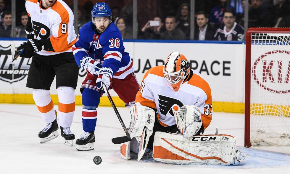 ASSISTKONGE: Mats Zuccarello Aasen noterte seg for sin 25. assist i kampen mot Colorado Avlanche. Her fra en kamp tidligere i januar, mot Philadelphia Flyers. Foto: Dennis Schneidler / USA Today Sports / NTB Scanpix