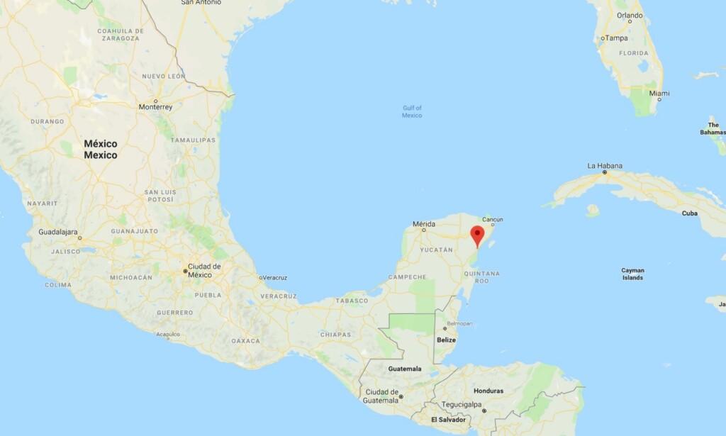 PÅ ØSTKYSTEN: Grotten ligger like ved Tulum i Mexico. Kart: Google