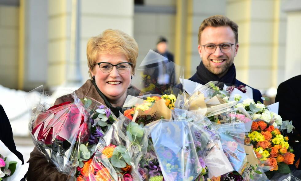 NY KULTURMINISTER: Trine Skei Grande (V) var lykkelig i går over å bli kulturminister etter Linda Hofstad Helleland (H), men nå venter en rekke utfordringer. Til høyre er Nikolai Astrup (H). FOTO: Hans Arne Vedlog / Dagbladet