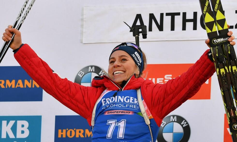 SEIER: Tiril Eckhoff tok årets første seier i Anterselva. Foto: AFP / NTB Scanpix