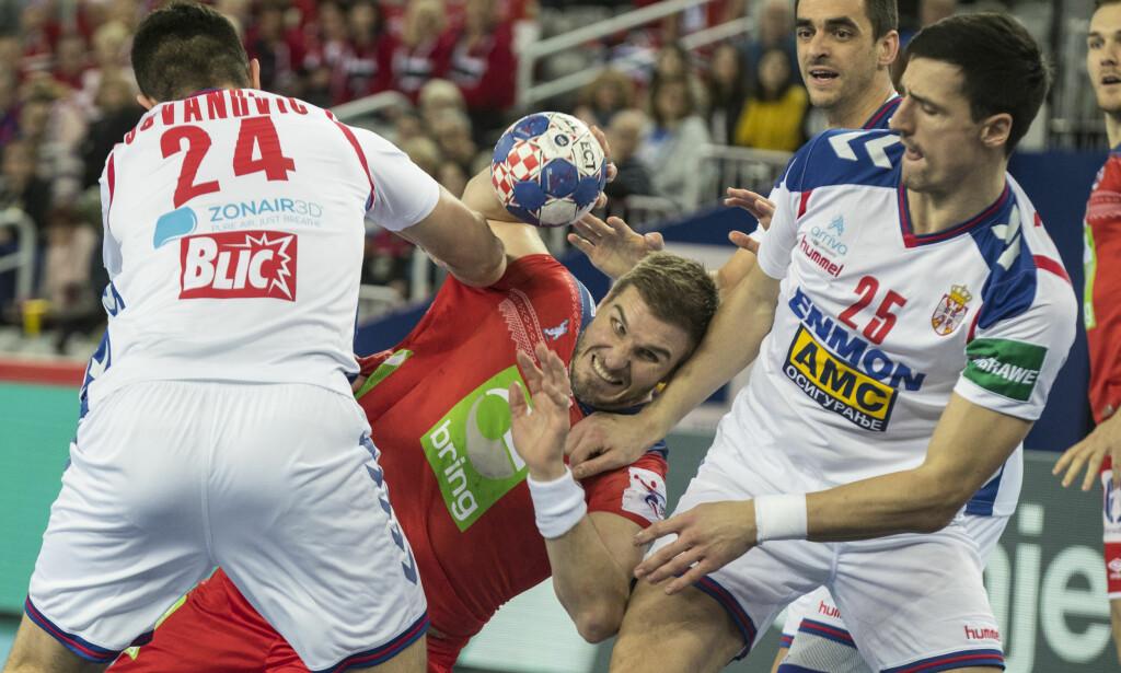Zagreb, Kroatia 20180118. Bjarte Myrhol under kampen mellom Serbia og Norge i Arena  Zagreb torsdag. Foto: Vidar Ruud / NTB scanpix