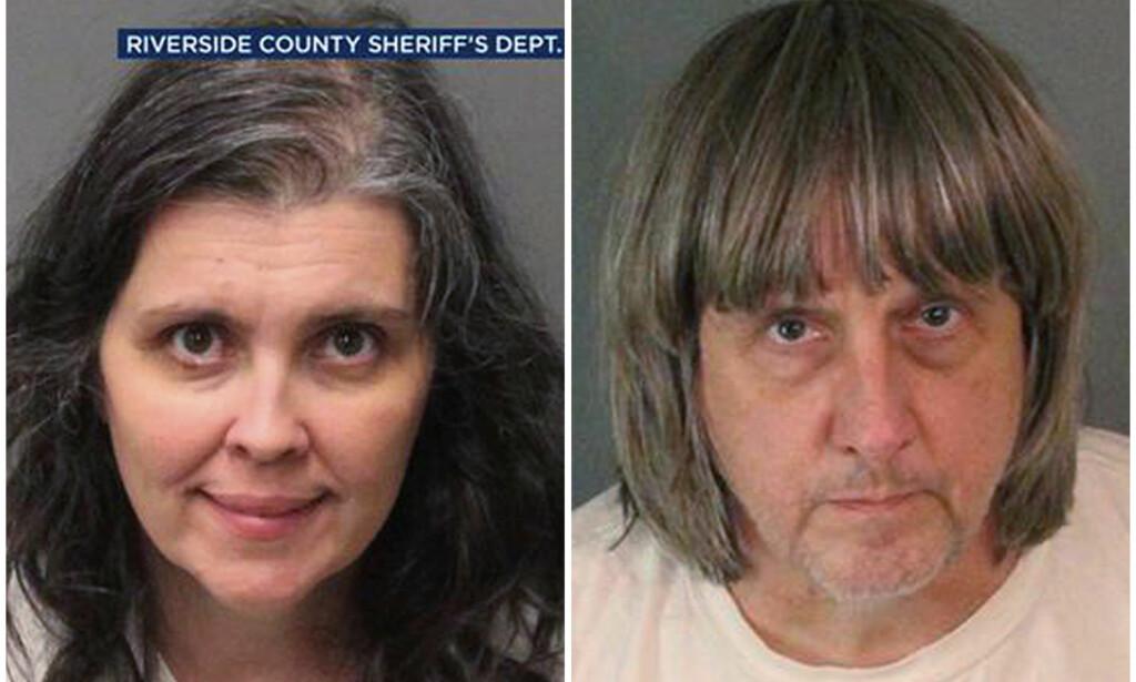 SIKTET: Louise Anna Turpin (t.v.) og David Allen Turpin (t.h) risikerer å bli dømt til livsvarig fengsel etter å ha mishandlet og nektet barna sine mat i lang tid. Foto: AP / NTB scanpix