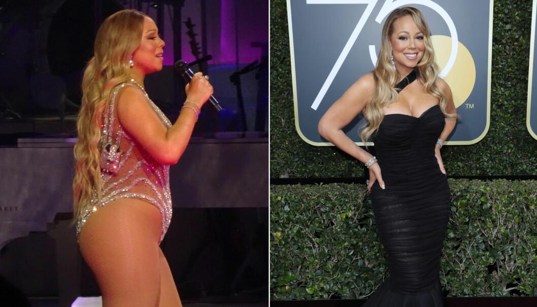FØR OG NÅ: Det ser ut til at Mariah Carey har gått ned i vekt siden hun stod på scenen i Las Vegas i juli 2017 (t.v.). På Golden Globe-løperen i starten av januar, viste hun frem formene i en sort kjole. Foto: Splash News/ NTB scanpix