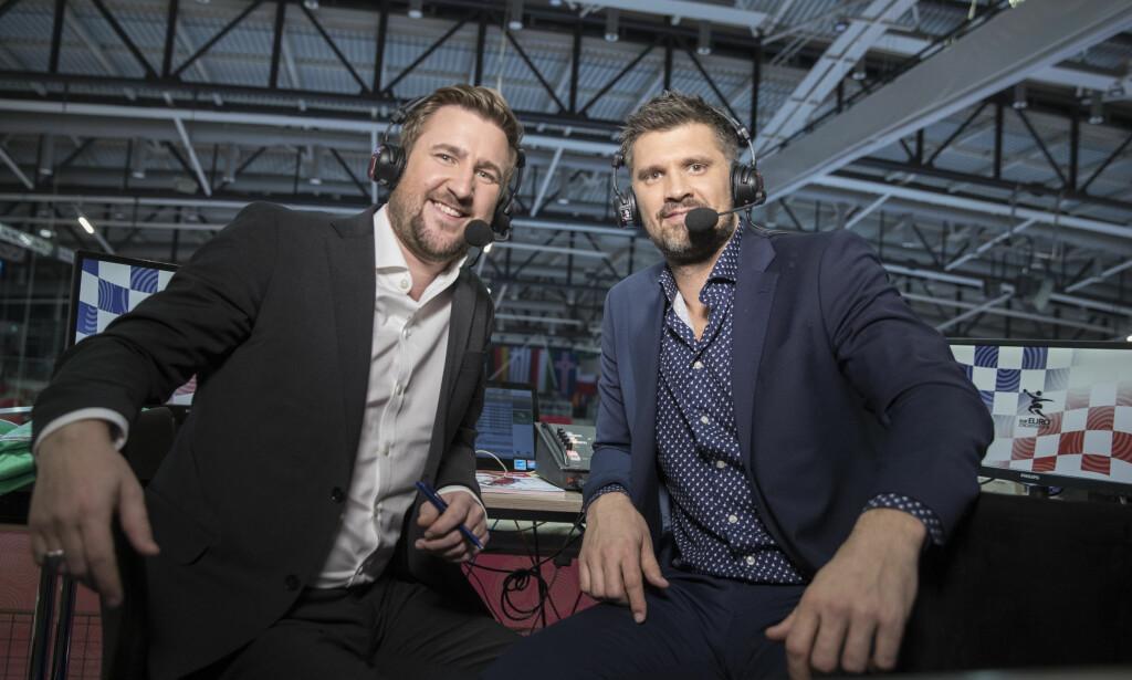 TV 3s STEMMER: TV3 ekspertkommentator Kristian Kjelling og Daniel Høglund (t.v) i håndball-EM for herrer. Foto: Vidar Ruud / NTB scanpix