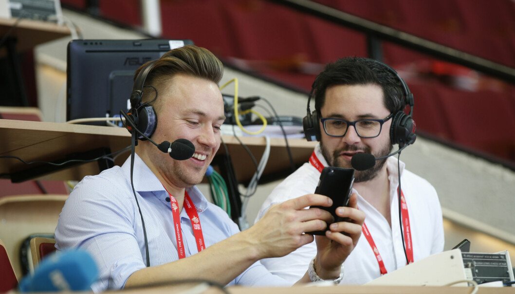 <strong>NRK:</strong> Håvard Tvedten og Patrick Sten Rowlands i NRK tror på Norge-gull i VM. Foto: Vidar Ruud / NTB scanpix