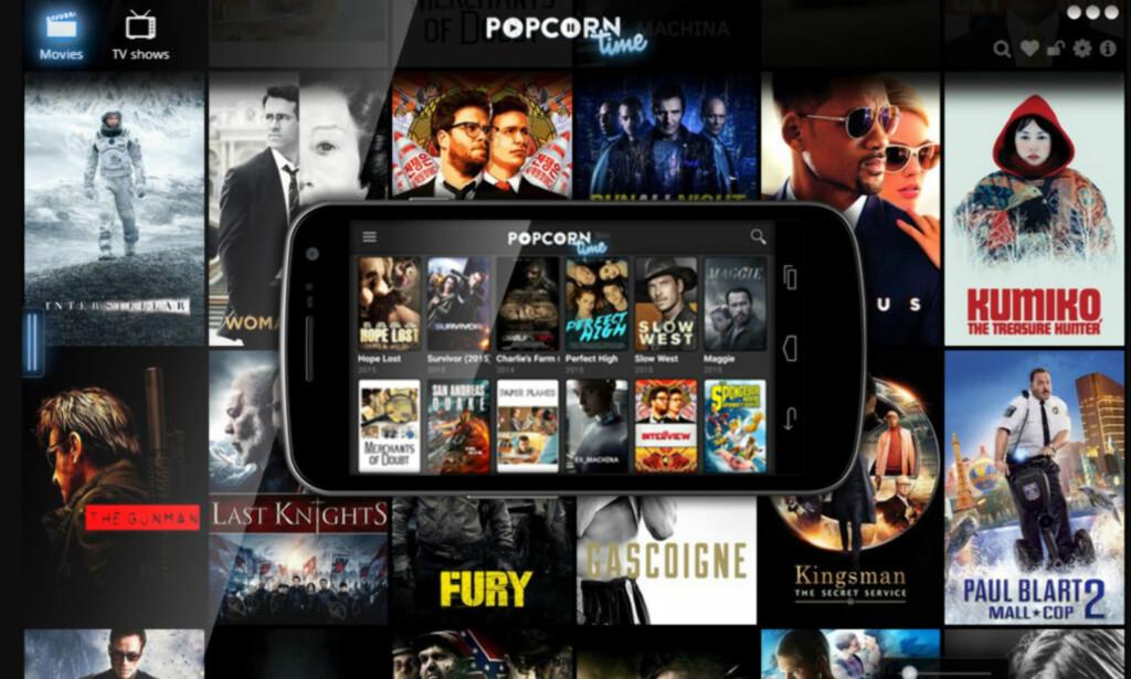 ULOVLIG: Strømmetjenesten Popcorn Time er ulovlig, ifølge Borgarting lagmannsrett. Foto: Skjermdump