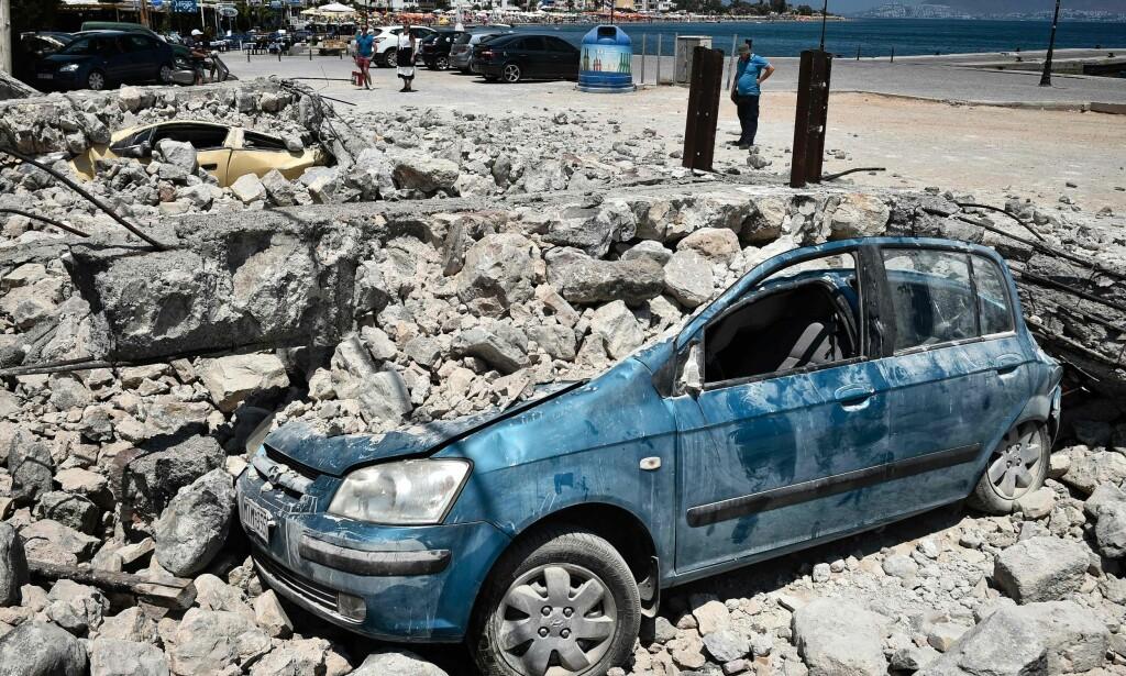 JORDSKJELV: Det kraftige skjelvet på den greske øya Kos i juli førte til at flere nordmenn ble evakuert av forsikringsselskapene sine. Foto: NTB Scanpix