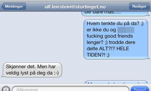INTIME SMS-ER: Ulf Leirstein har trukket seg fra sine politiske verv etter SMS-avsløringene. Skjermdump.