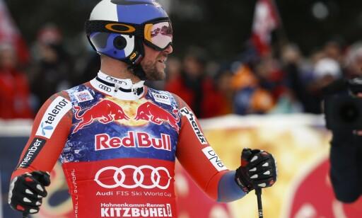 SLÅTT: Aksel Lund Svindal og de norske gutta var ikke like skarpe i Kitzbühel i dag som i super-G i går. Foto: AP Photo/Giovani Auletta