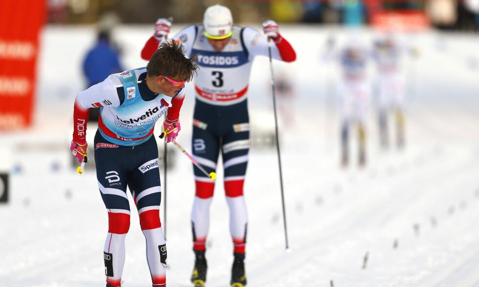 VANT IGJEN: Johannes Høsflot Klæbo triumferte i Planica foran Emil Iversen og Teodor Peterson. Eirik Brandsdal ble nr. 5. Foto: Primoz Lovric / NTB scanpix