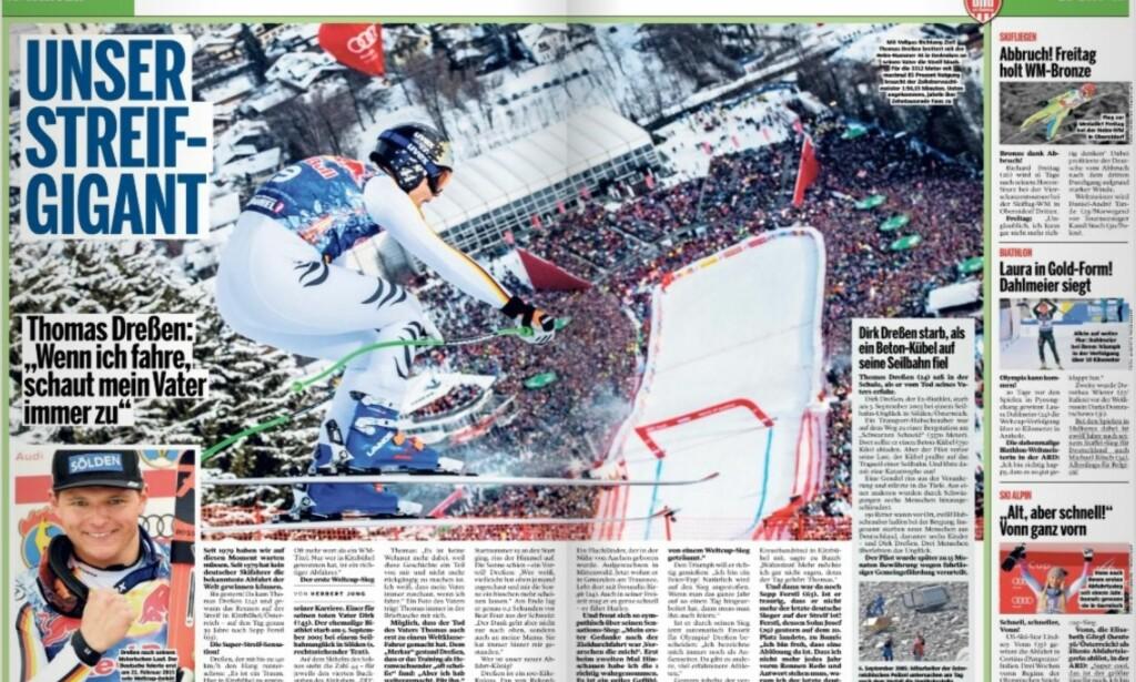 DOBBELTSIDE: Den tyske storavisa Bild am Sonntag feirer Thomas Dressen over en dobbeltside søndag.