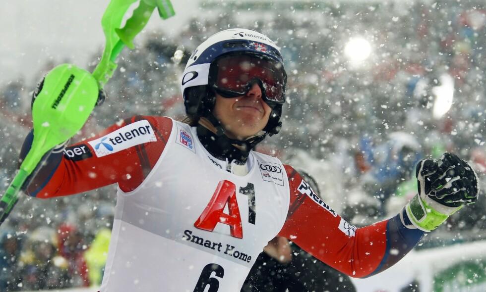 ETTERLENGTET SEIER: Henrik Kristoffersen tok sin første verdenscupseier siden januar 2017. Foto: Giovanni Auletta / AP Photo / NTB Scanpix