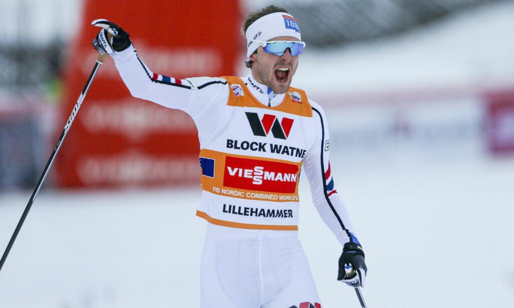 VANT: Jørgen Graabak gikk en sterk sisteetappe og sikret seieren for Norge. Foto: Olsen, Geir/NTB scanpix