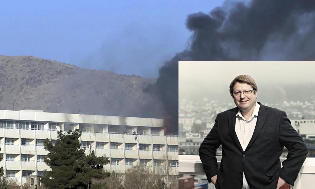 I SIKKERHET: Den norske forskeren, Arne Strand, er brakt i sikkerhet etter angrepet på Hotel Intercontinental i Kabul. Foto: NTB Scanpix / AP Photo/Rahmat Gul / Chr-Michelsens Institutt