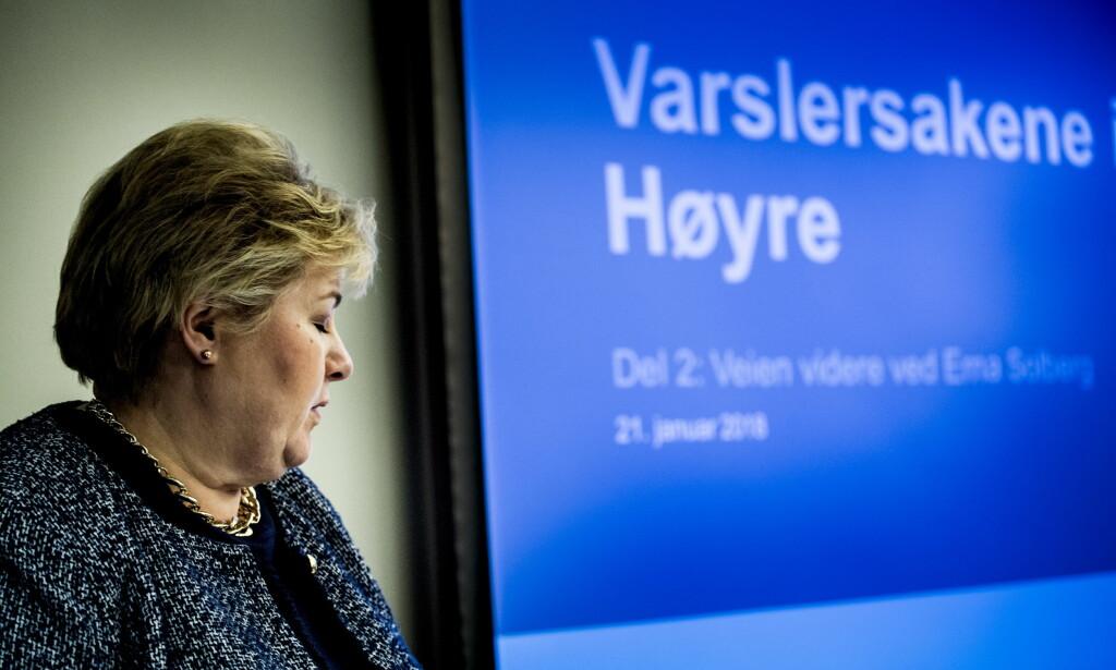 KOMMENTERER METOO: Statsminister Erna Solberg kommenterer i kveld varslings-sakene i Unge Høyre. Foto: Lars Eivind Bones