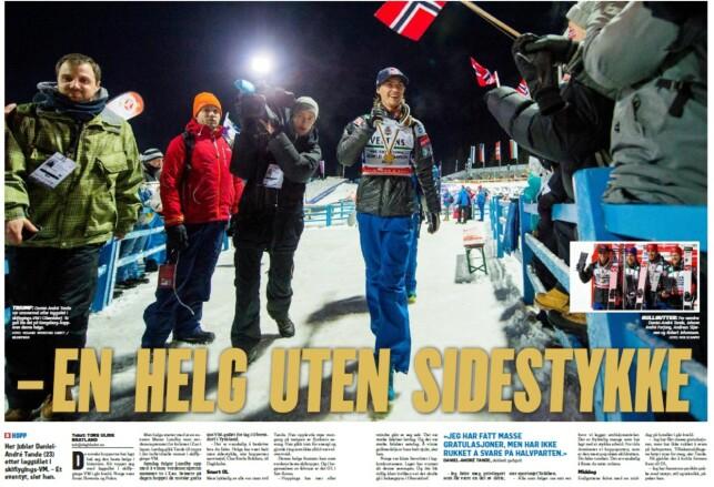 HOVEDSAK PÅ SPORTSSIDENE: Daniel-André Tande og de norske hopperne blir feiret over to sider i Dagbladets papiravis i dag.