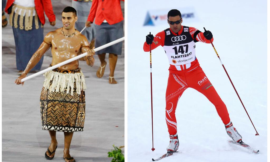 FØRSTE GANG: Pita Taufatofua forteller at det er første gang Tonga sender en skiløper til OL. Foto: NTB Scanpix