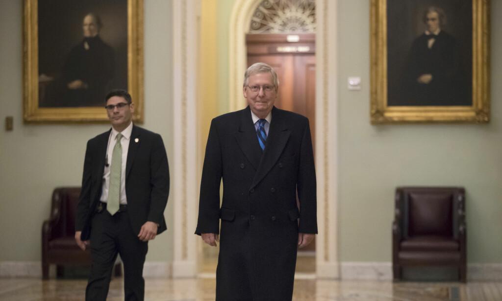 UTSATT: Republikanernes leder i Senatet Mitch McConnell. Foto: J. Scott Applewhite / AP / NTB scanpix.