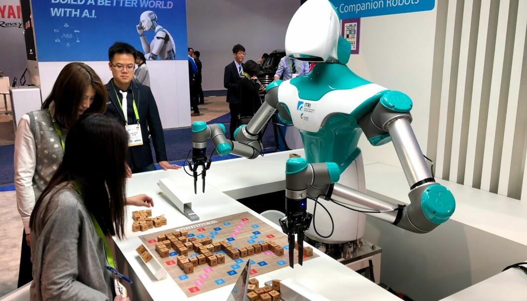<strong>SCRABBLEKONGEN:</strong> Ifølge iFlyTek skal det være temmelig vanskelig å slå denne roboten i det populære ordspillet. Foto: Bjørn Eirik Loftås
