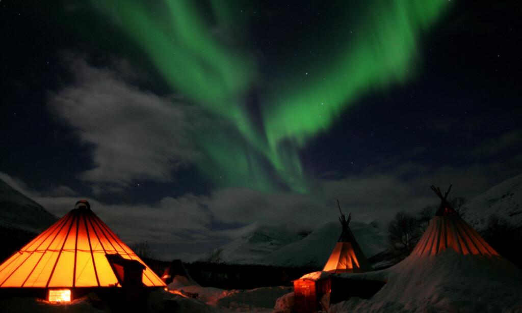 BALSFJORD: Befinner du deg i Tromsø-området i tre dager, er sjansen for å få oppleve nordlys over 90 prosent, hevder bransjen. Her fra villmarkleiren Camp Tamok i Balsfjord kommune. Foto: Morten Pettersen