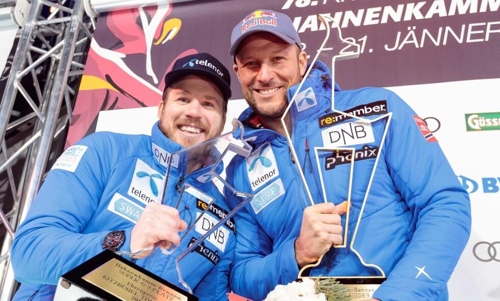 DOBBELT NORSK: Aksel Lund Svindal og Kjetil Jansrud tok første- og andreplass i super-G lørdag. Foto: AFP PHOTO / APA AND EXPA / Johann GRODER / Austria OUT