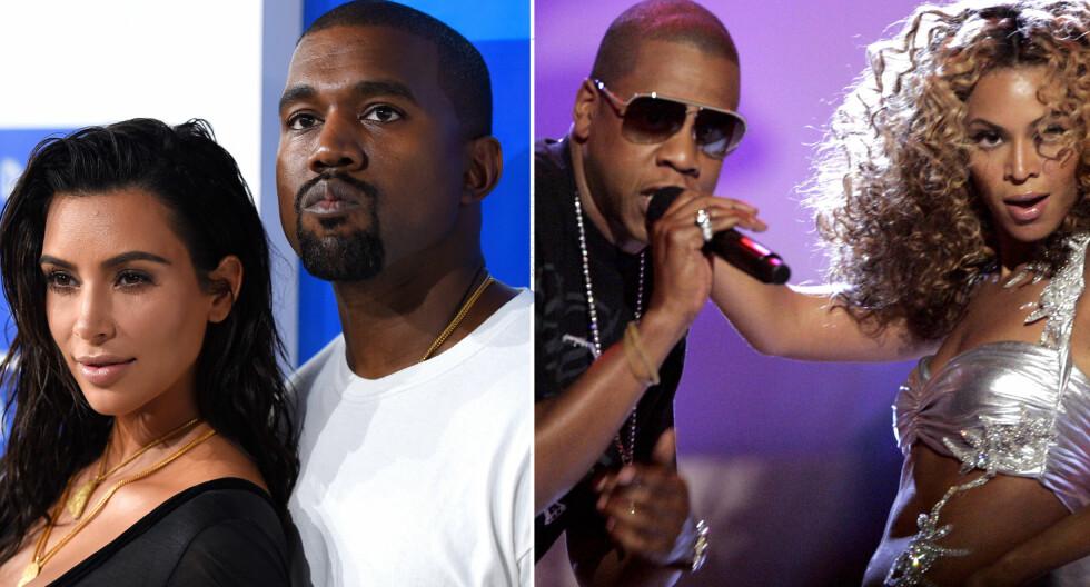 VENNER IGJEN: Stjerneparene Kim Kardashian og Kanye West, og Jay Z og Beyoncé Knowles skal ha begravd stridsøksen seg imellom. Foto: NTB Scanpix