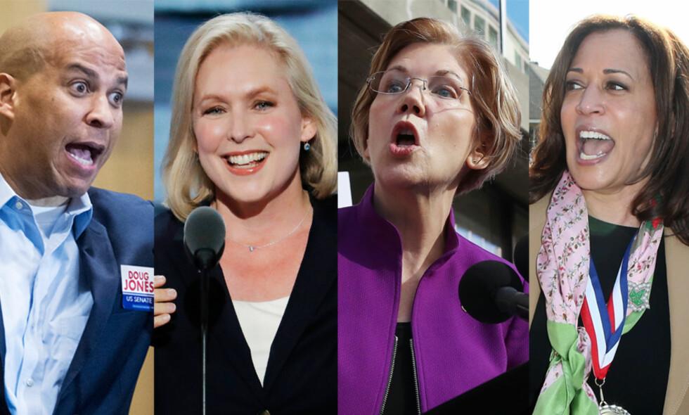 «2020-DEMOKRATENE»: Demokratene som tjener på kveldens forlik, er senatorene som sannsynligvis stiller som presidentkandidater i 2020, ifølge USA-kjenner Hilmar L. Mjelde. F.v. Cory Booker (New Jersey), Kirsten Gillibrand (New York), Elizabeth Warren (Massachusetts) og Kamala Harris (California). Foto: NTB Scanpix
