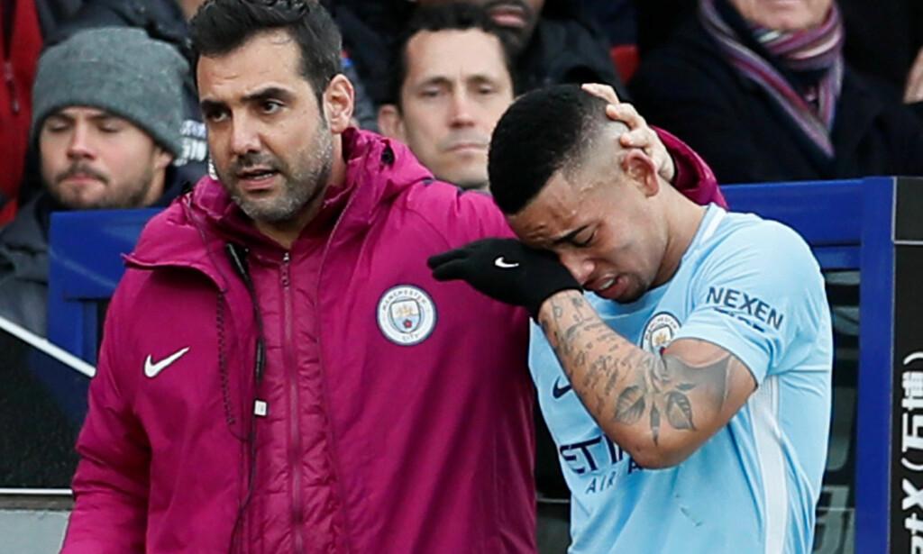 TILBAKE SNART: Gabriel Jesus pådro seg en skade mot Crystal Palace. Foto:  REUTERS/David Klein/NTB Scanpix